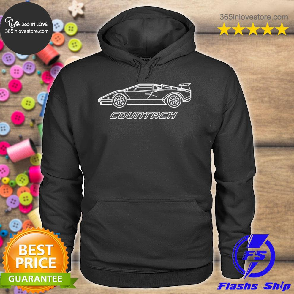Italian countach super car high performance racing blueprint s hoodie tee