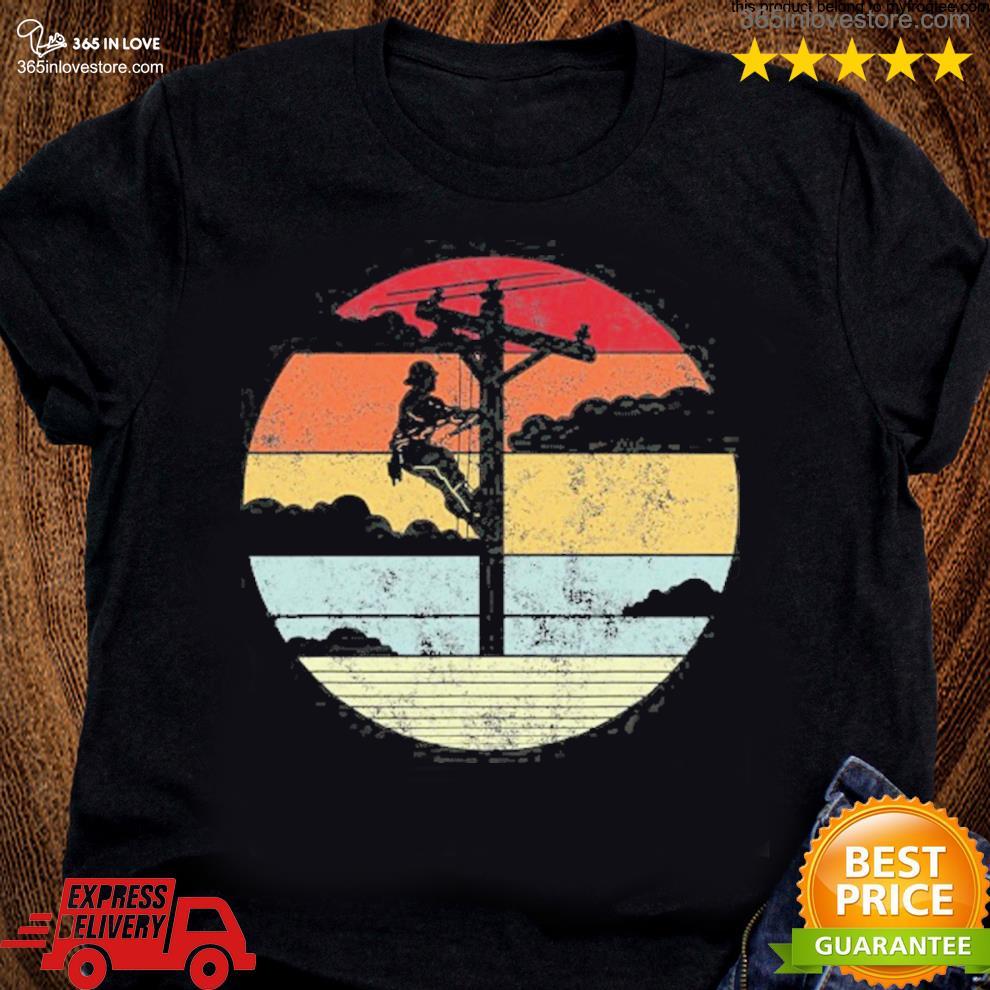 Lineman retro style line worker utility pole s women tee shirt