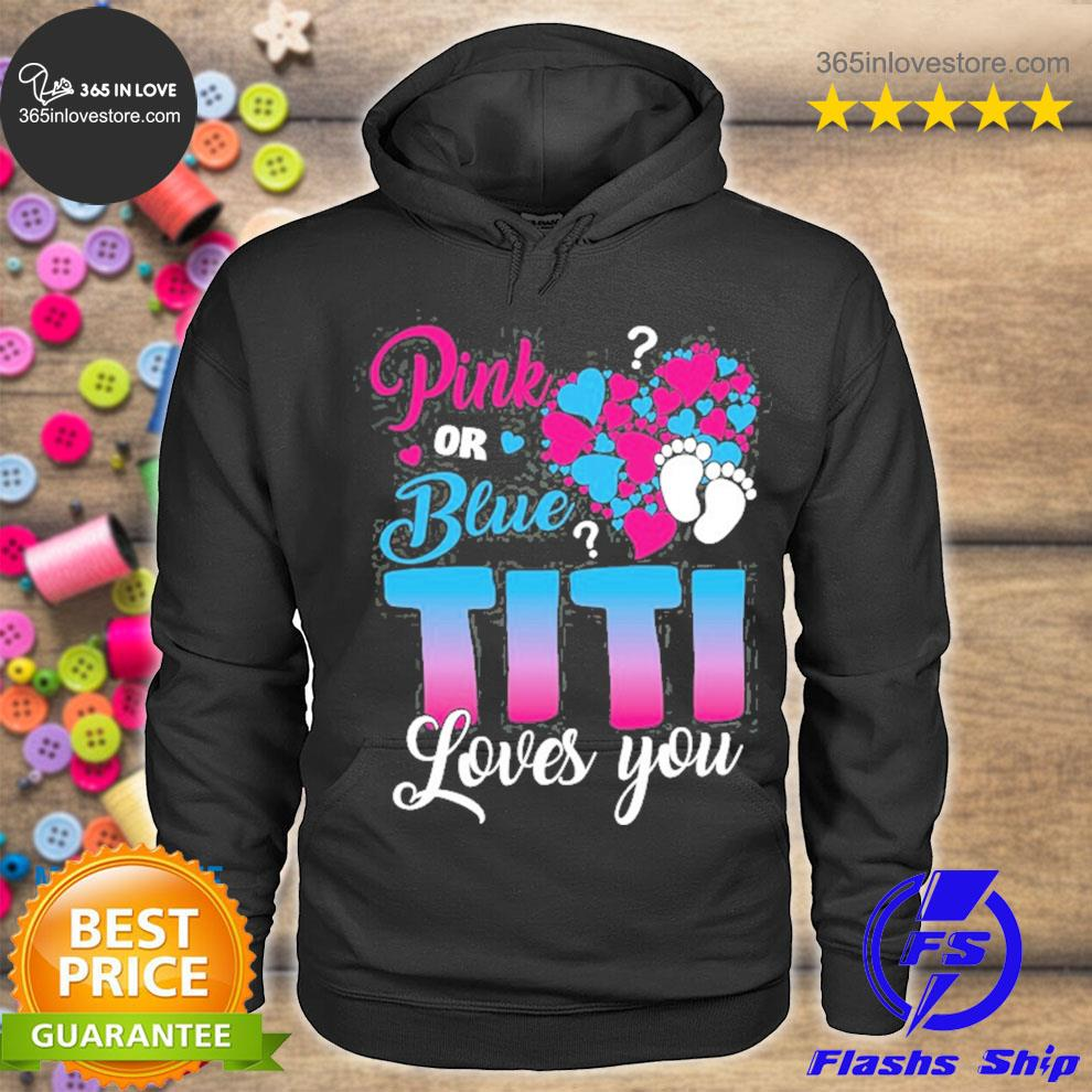 Pink or blue boy or girl titI loves you gender reveal party footprint with hearts s hoodie tee