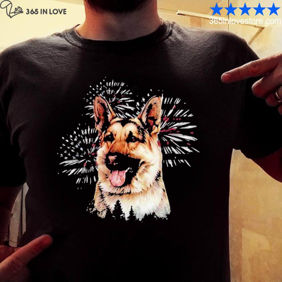 German Shepherd firework American flag shirt