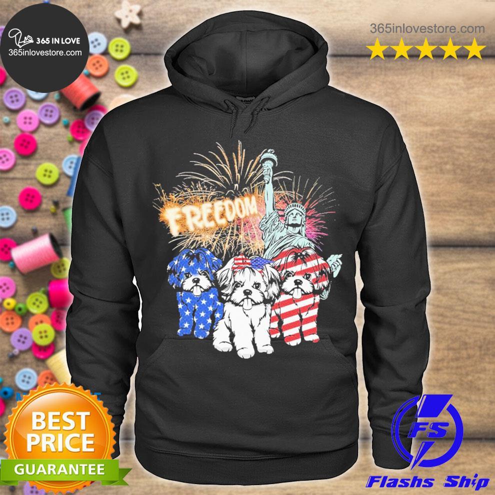 Shih tzu dog freedom American flag s hoodie tee