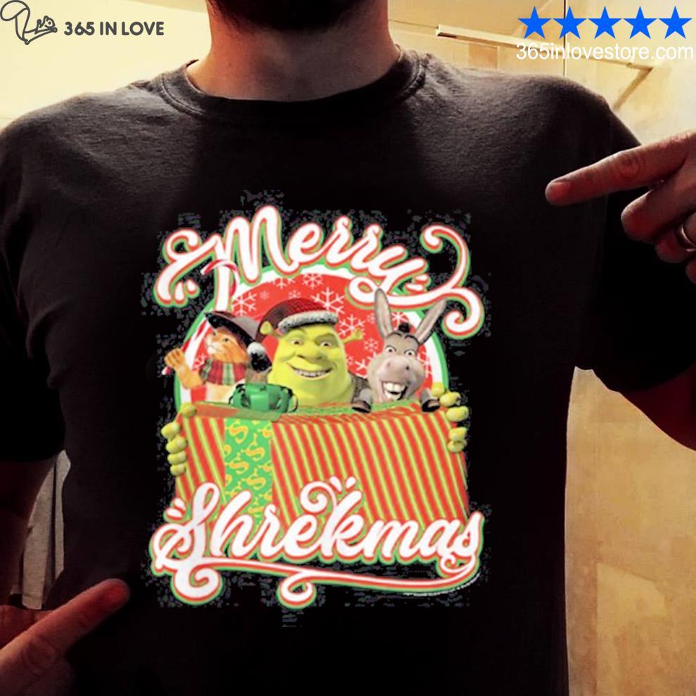 Shrekmas present text poster shirt