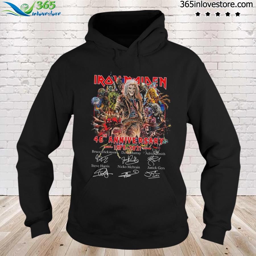Official Iron Maiden Characters 46th Anniversary 1975 2021 Signatures Shirt hoodie