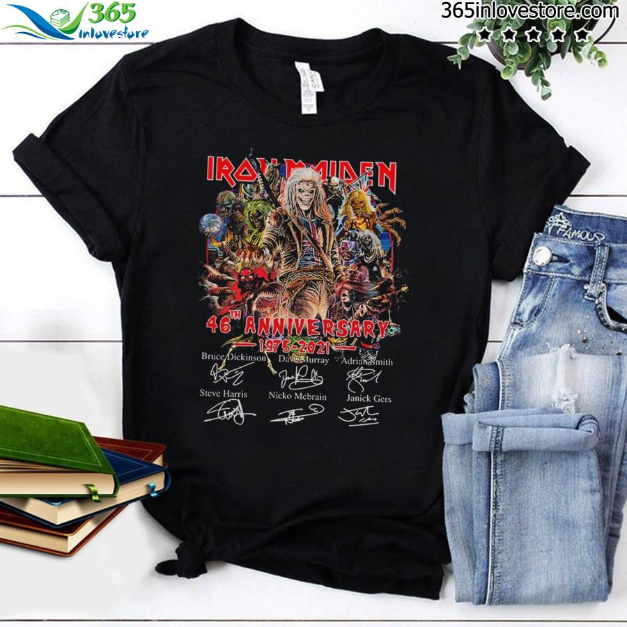 Official Iron Maiden Characters 46th Anniversary 1975 2021 Signatures Shirt